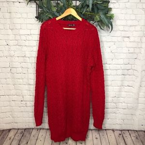 Boohoo Red Ellie Cable Knit Sweater Dress - NWT